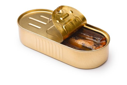 Smoked fish, sardines or sprats in half-opened tin. Infinite DOF, clipping paths