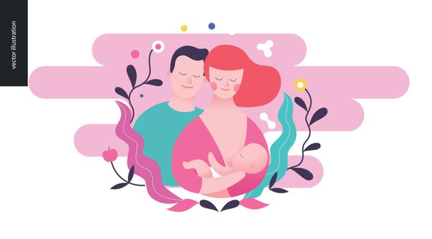 Reproduction - a breast feeding woman, baby and a man. on the pink background