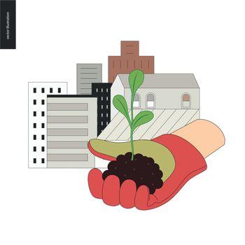 Urban farming and gardening sign