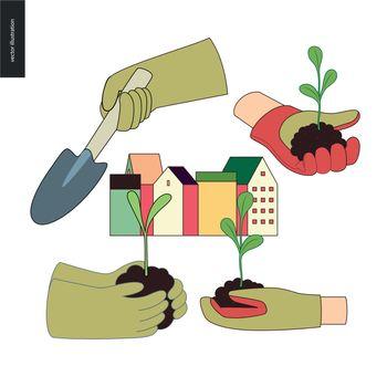 Urban farming and gardening hands set