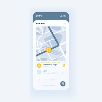Bus tracking app smartphone interface vector template. Mobile app page light theme design layout. Public transport movement screen. Flat UI for application. City map with bus route on phone display
