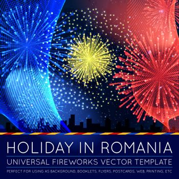 National Day of Country in Blending Lines Style with Fireworks Vector