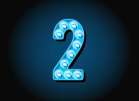 Casino or Broadway Signs style light bulb Digits Numbers Character in Vector