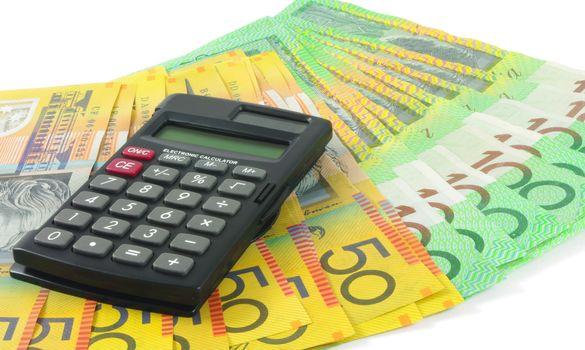 closeup of calculator with australian money