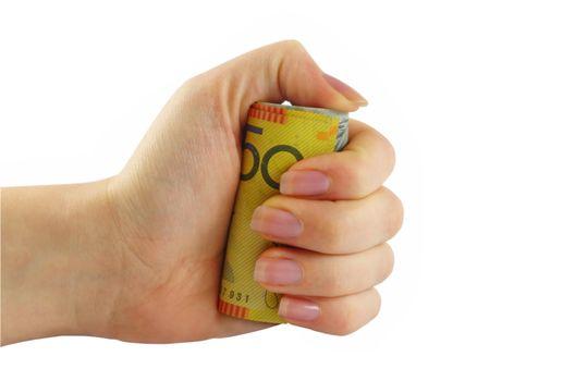 female hand holding australian money in fist