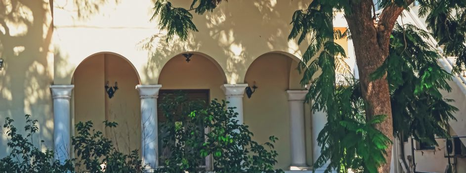 Architectural details on ancient streets of Kos Island in Greece, travel and sightseeing