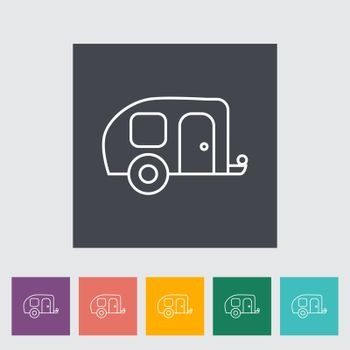 Trailer outline icon on the button. Vector illustration.