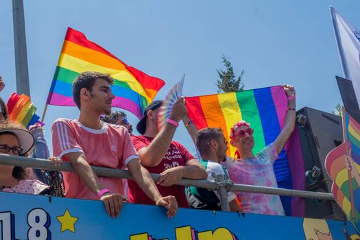 HAIFA, ISRAEL - JUNE 22, 2018: Various people take part in the annual pride parade of the LGBT community, in Haifa, Israel