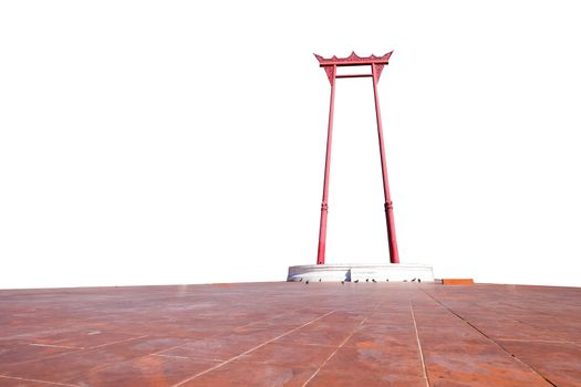 The Giant swing landmark in Bangkok,Thailand on white background with clipping path