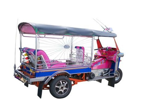 Thailand Tuk Tuk three wheel native taxi on white background with clipping path