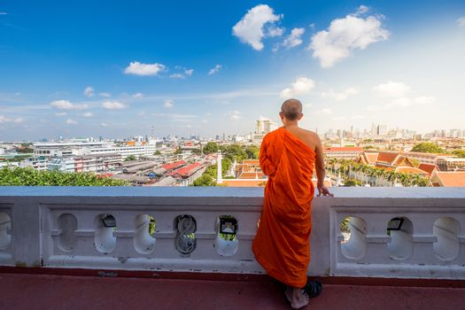 Unidentified buddhist monks in City view point at Golden moutain Temple, Thailand