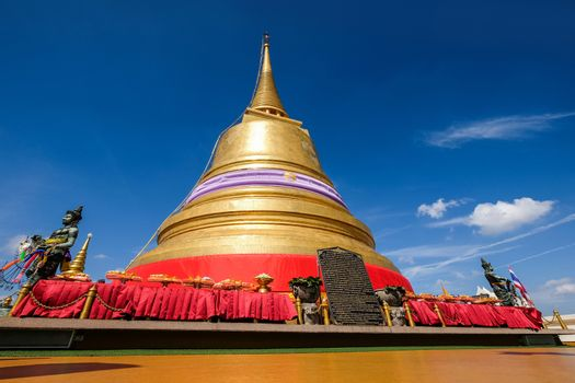 Gold moutain temple and blue sky in bangkok ,Thailand