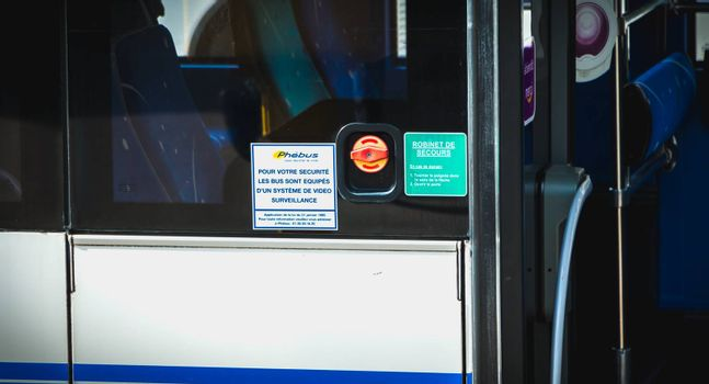 Versailles, France - October 9th, 2017: Sign in French on a bus - For your safety the buses are equipped with a video surveillance system