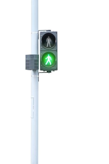Traffic lights, green signal, go on white background with clipping path