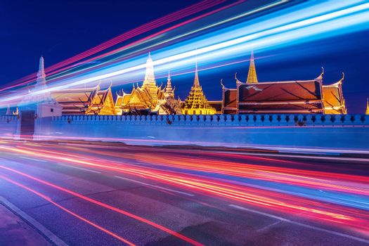 Wat Phra Kaew (The Emerald Buddha) night view in Thailand