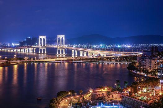 Bridge in Macau view at night