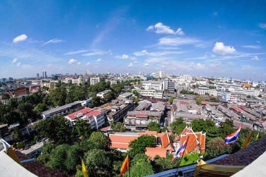 View of Bangkok Wat Saket from top of Golden Mount in Bangkok, Thailand