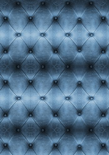 Old blue Vintage leather close-up and detail Sofa background