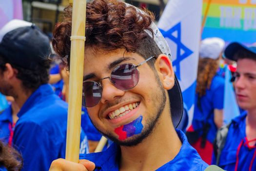 HAIFA, Israel - June 30, 2017: Portrait of a participant in the annual pride parade of the LGBT community, in the streets of Haifa, Israel