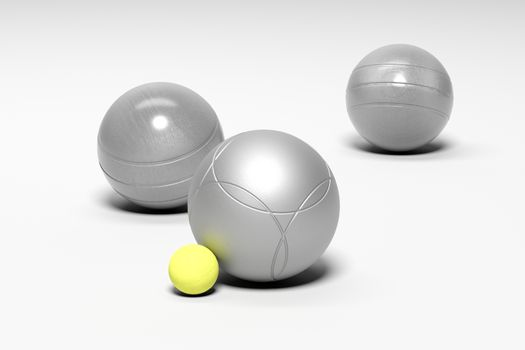 3 balls of Petanque, white background 3D rendering