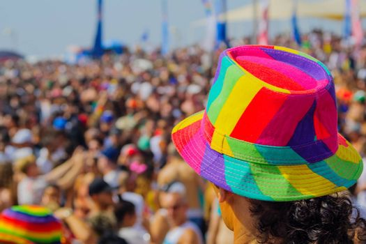 TEL-AVIV, ISRAEL - JUNE 03, 2016: A crowd of people take part the Pride Parade events, in Tel-Aviv, Israel. Its part of an annual event of the LGBT community