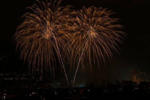 firework plume over skies of bath