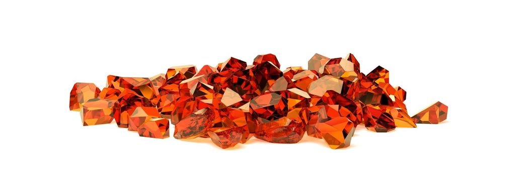 group of amber stones on white background 3D rendering