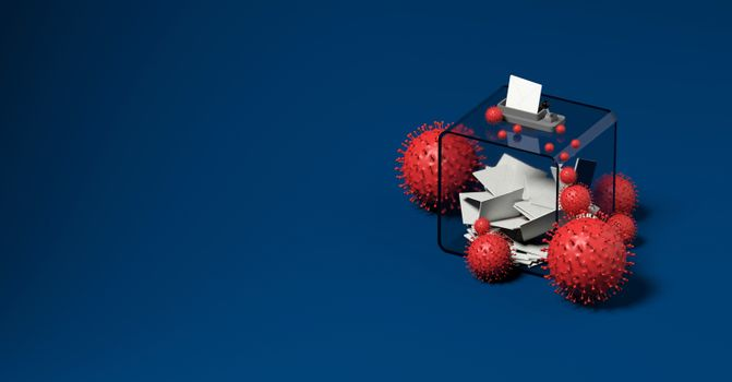 ballot box and viruses blue background 3D rendering