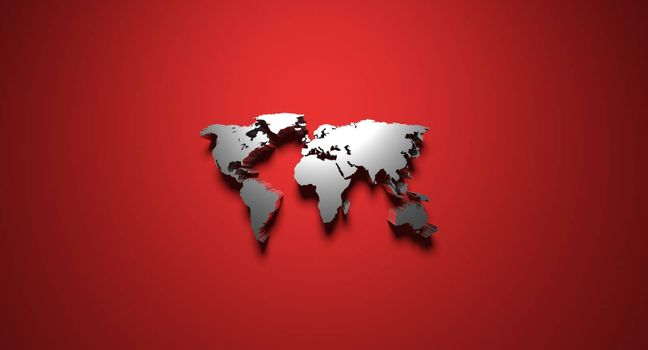 3D rendering planisphere with shadow on red background
