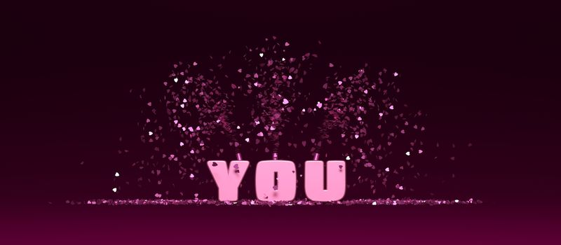 3D rendering word YOU on purple background with confetti