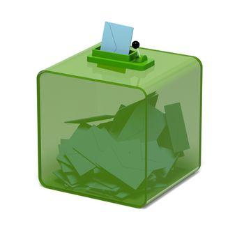 3D rendering ballot box green background, go green concept
