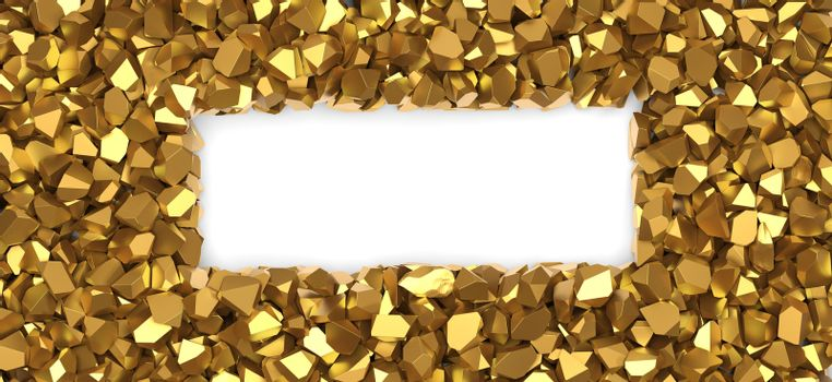 Gold nuggets frame on white background 3D rendering