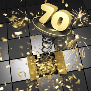 70th anniversary golden number on spring