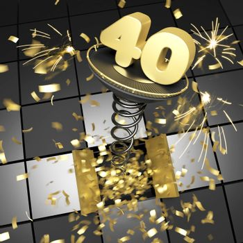 40th anniversary golden number on spring