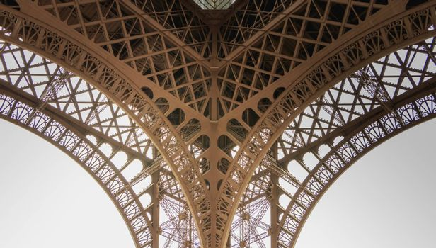 architectural detail of the Eiffel Tower in Paris France