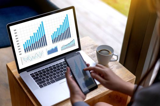 man business analytics and financial Business finances and accounting concept.