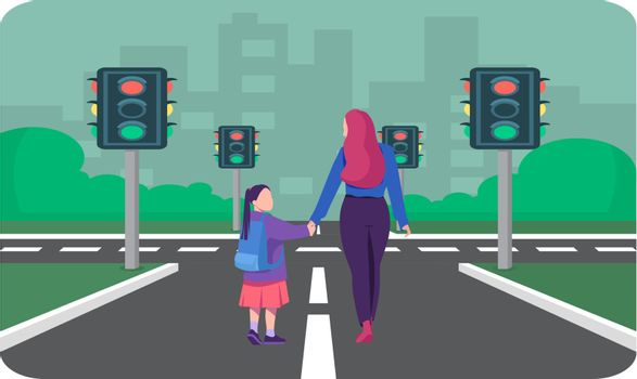 girl walking on the road with her mother