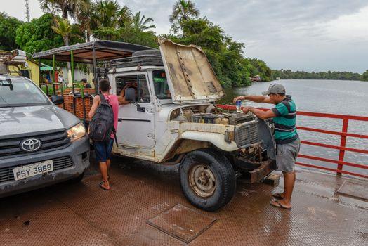 Barreirinhas, Brazil - 11 January 2019: small ferry boat at Barreirinhas on Brazil