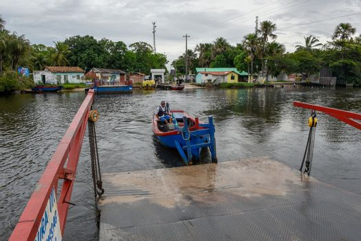 Barreirinhas, Brazil - 11 January 2019: small ferry boat at Barreirinhas on Brazil