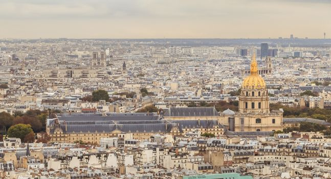 Aerial view from the Eiffel Tower on the Hotel des Invalides, a Parisian monument