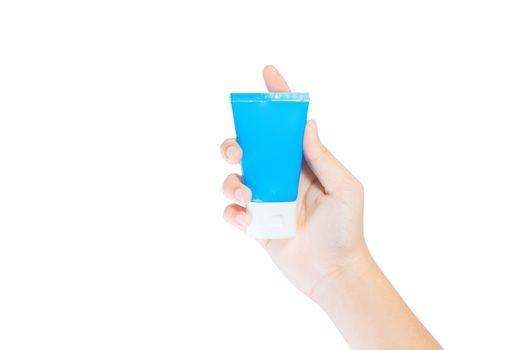 Cream Tube in Hand Cream On Soft Silky Healthy Skin Care Concept