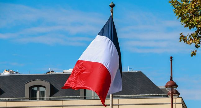 french flags flying in front of a building in France
