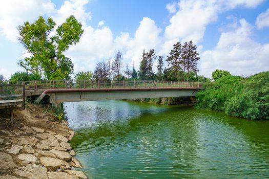 Nahal Alexander (Alexander stream) nature reserve and the Turtle Bridge. Israel