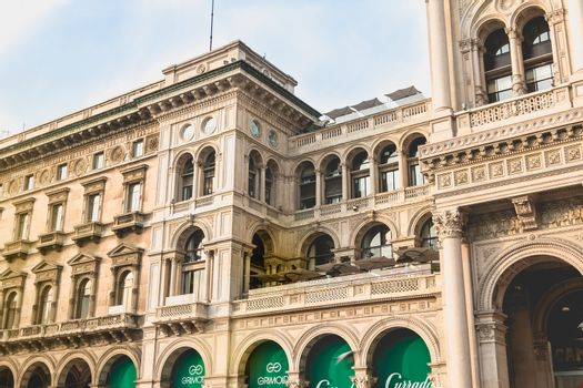 Milan, Italy - November 2, 2017: Architectural detail of the Galleria Vittorio Emanuele II on a fall day. A prestigious shopping gallery located near Milan Cathedral, built by architect Giuseppe Mengoni from 1867 to 1878