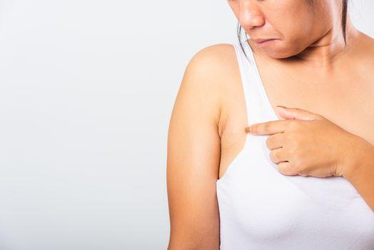 Woman pointing her skin underarm she problem armpit fat underarm