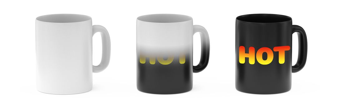 thermoreactive mug white background 3D rendering