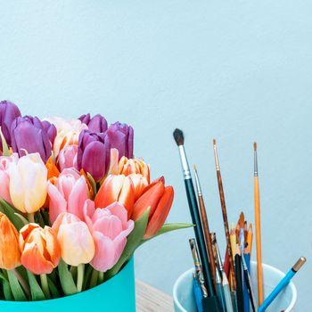 Flowers Floristics Bouquet of colorful tulips. Close up