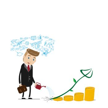 financial growth success concept with happy businessman with business plan over head, watering can pouring on golden coins as step stair start from beginning till success. investment growth success
