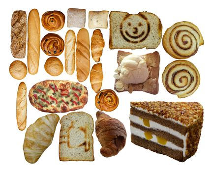 Collection of fresh bakery, pastry, cakes and bread photos isolated on white. Top view.