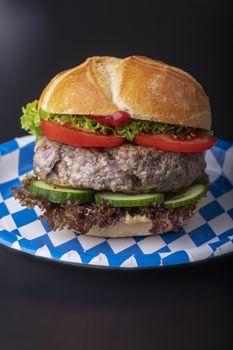 bavarian burger in a typical bun